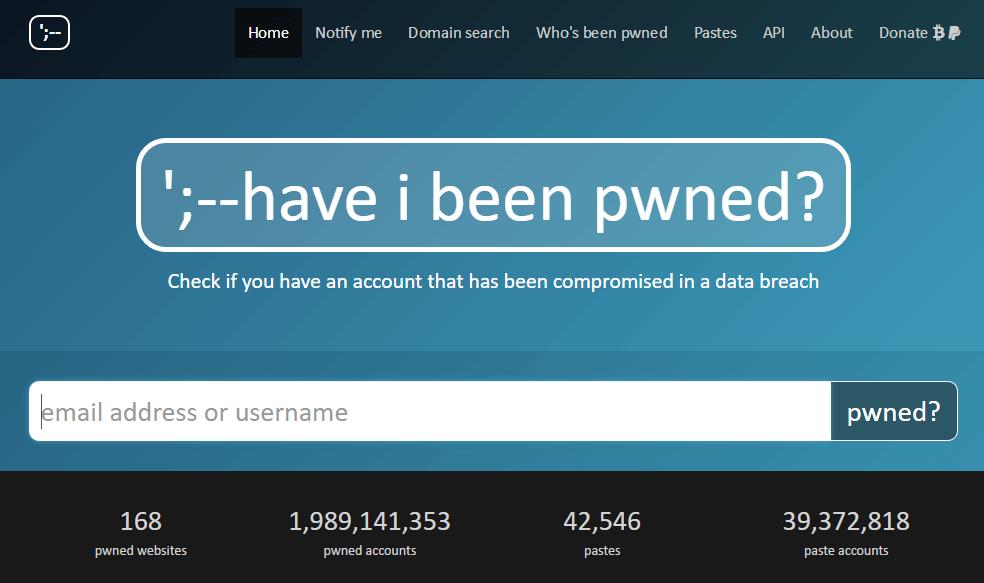Screenshot della pagina iniziale del sito web Have I Been Pwned?
