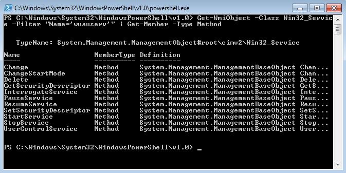 "Risultato della pipeline Get-WmiObject –nomecomputer -Class Win32_Service -Filter ""Name='wuauserv'"" | Get-Member -Type Method"