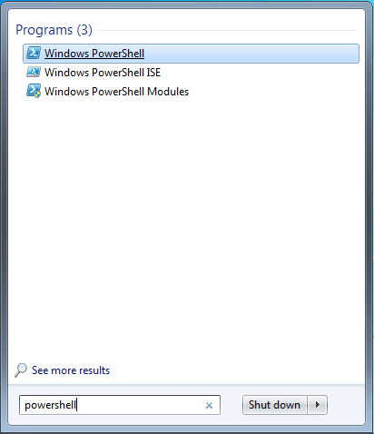 Windows PowerShell nei risultati di ricerca di Esplora File