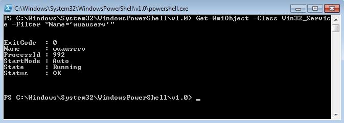 """Risultati della pipeline Get-WmiObject –nomecomputer -Class Win32_Service -Filter """"Name='wuauserv'"""""""