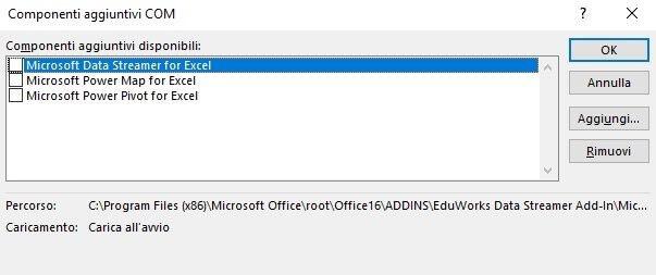 Finestra per la disattivazione dei componenti aggiuntivi COM in Excel