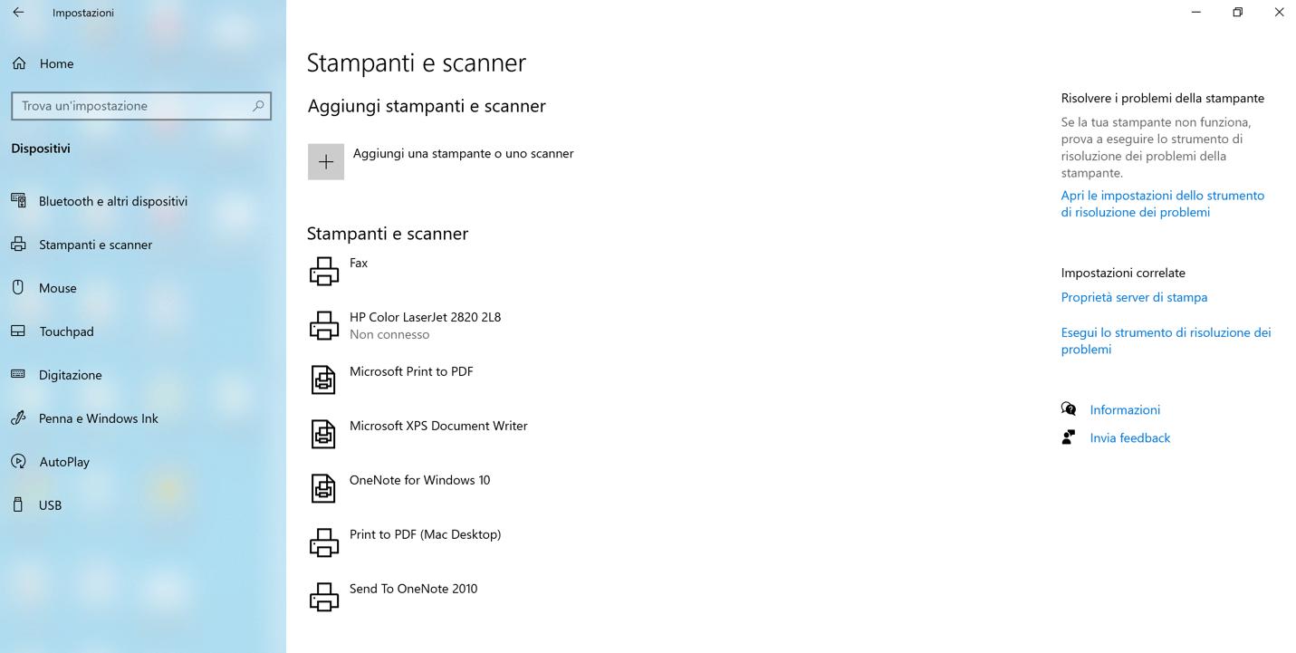 Menu che permette di gestire le stampanti in Windows 10