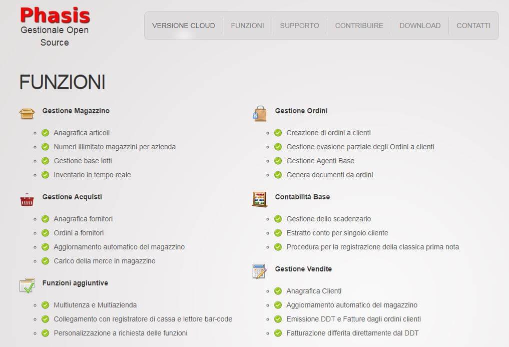 Pagina delle funzioni del software per la fatturazione Phasis