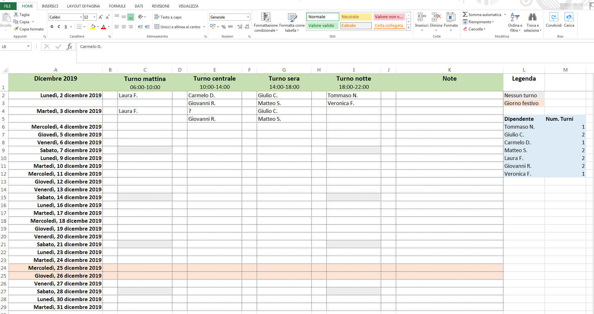 Calendario Prenotazioni Hotel Excel.Creare Gratis Turni Di Lavoro Mensili Con Excel 1 1 Ionos